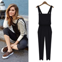 Free shipping new 2014 fashion jumpsuit women solod rompers womens jumpsuits full length
