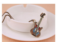 P2175Min.order$10(mix order) Free shipping Cute shiny crystal guitar pendant lovely Europe Style guitar necklace Christmas gift