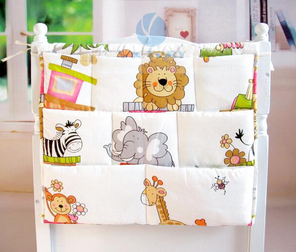 Children Diaper Cartoon Cotton Fabrics Cloth Bag,Good Quality Cheap Price Baby Crib Accessories,Cotton Bedding Bedside Bag Sale(China (Mainland))