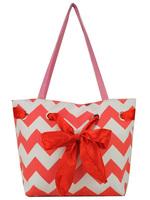3 Color Free Shipping 2014 New Arrival  Waves Print With Ribbons Shopper Bags Beach bag Women Handbag Casual handbags QQ1827