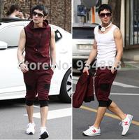2014 Hot Selling Korea Contrast Men's Sport Wear Sleeveless Hoodie Coat Knee-length Cropped Trousers Activewear Free Shipping