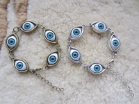 13 PCS /LOT Vintage Alloy Evil Blue 5 Eyes Of Angel Charm Bracelet, 12pcs/lot, 2 colors