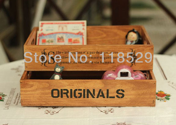 ZAKKA Style Wooden Pallets Wooden Cosmetic Storage Box Desktop Cosmetics Organizer Fashion Design , #61016(China (Mainland))