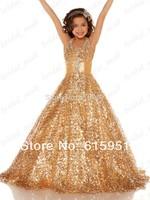 2014 New Ball Gown Sparkling Scoop Neckline Little Girl Pageant Dress Gold Shinning Sequin Beading Flower Girl Dresses HT044
