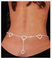 Newest navel chain Super Sexy rhinestone Belly Chain with 4 hearts body chain Beach Jewelry Body Jewelry XXL308