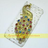 1 Pcs Handmade Bling Peacock Clear Hard back case For Sony Xperia V LT25i