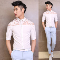 Free shipping! 2014 summer new men's shoulder lace stitching inch Sleeve Shirts