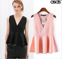 2014 New Women Ladies' Sexy Deep V Neck Peplum Ruffle Office Work Vest Shirt Female Summer Sleeveless Casual ZA Brand Tops A409