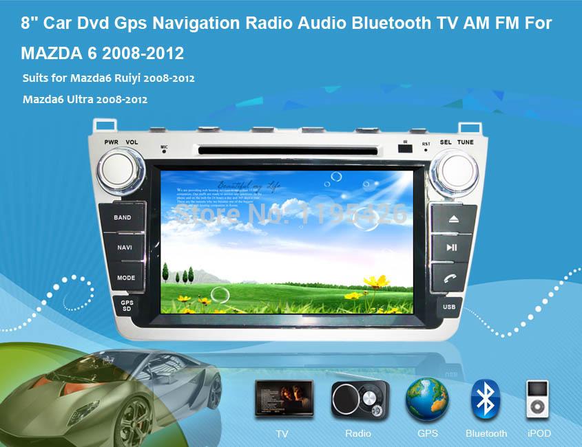 "Android 8"" Car Dvd Gps Navigation Radio Audio Bluetooth TV AM FM For MAZDA 6 2008-2012(China (Mainland))"