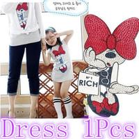 2013 Baby Girls shirt dress Minnie design summer T-Shirt big bow Minnie bag dress short-sleeved Long children white Q08249
