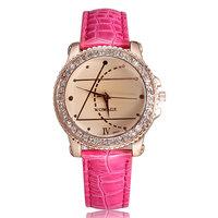 Women rhinestone watches fashion casual quartz watch crystal diamonds pu leather band girls hour clock new arrival best gift