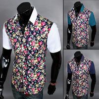 New 2014 Patchwork Flower Shirt  Men Short-sleeve Shirt slim Casual Clothing Free ShippingXMTS8826
