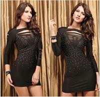 Summer Dress 2014 Hole Diamond Long-sleeved Fashion Dresses Plus Size Sexy Club Dresses European& American Women's Club Dresses