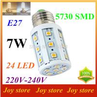 7W,5730 SMD LED Lamps lights Bulb,E27 B22 E14,220V,230V,240V,Cold/Warm white,24 LED,Corn Light Bulb,Ultra bright,free shipping