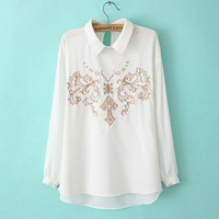2014 spring summer new korean fashion turn-down collar embroidered flowers print casual shirt long sleeve pullover blouse tops!