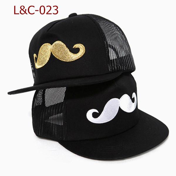 L&C popular New arrive modern mesh hat fashionable hip-hop adjustable baseball mustache cap(China (Mainland))