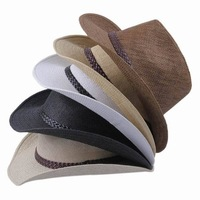 New 2014 Wholesale Brand Cowboy Hats Straw Hats For Men Women Summer Sun Beach Hat Chapeu 5 Style Pick Free Shipping EBQ