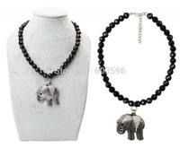 Fashion Black Chain Crystal Beads Necklace Retro Silver Elephant Charm Pendant