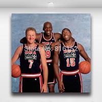 DreamTeam Jordan, Magic Johnson & Larry Bird Basketball Canvas Prints Gift Boy's Room Decorate Painting Picture
