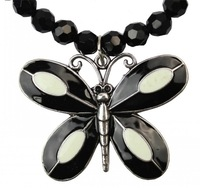 New Women's Fashion Black Chain Crystal Beads Necklace Dragonfly Charm Pendant
