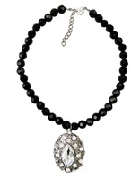 Fashion Black Chain Rhinestone Crystal Butterfly Charm Beads Statement Necklace