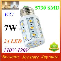 7W,5730 SMD LED Lamps lights Bulb,E27 B22 E14,110V,120V,Cold/Warm white,24 LED,Corn Light Bulb,Ultra bright,free shipping