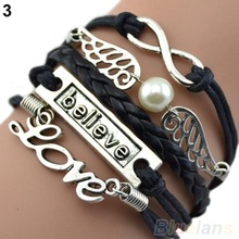 Wome Men Mix Multilayer Wig Love handmade bracelet Angel Wings Owl Deathly Hallows Chain Hot selling