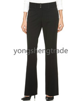 New Style Two-Button Curvy-Fit Pants Custom Made Pants Black Bootcut Pants  Belted Dress Pants Unlined  Bootcut Leg YS15