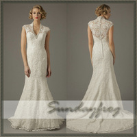 Free Shipping Custom Made 2014 A-Line Beaded V-Neck Cap Sleeve Lace Short Sleeves Chapel Train Wedding Dresses Wedding Gown