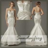 Free Shipping Custom Made 2014 Mermaid Satin Sweetheart Elegant Beaded Special Design Chapel Train Wedding Dresses Wedding Gown