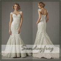 Free Shipping Custom Made 2014 Trumpet Mermaid Sweetheart Cap Sleeve Lace Elegant Chapel Train Wedding Dresses Wedding Gown
