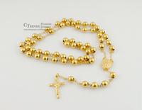 Long 80cm,14K beads gold-plated necklaces & pendants rosary jesus cross Men Women 316L Stainless steel jewellery,Wholesale VRN26