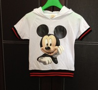 wholesale 2014 new Mickey Mouse cartoon car boys girls summer suits cotton short-sleeved T-shirt two children hoodies 100%cotton