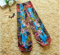 2014 New Fashion Bohemian style Women's Wide Leg Pants Loose Linen Long Gaucho Trousers Wholesale Retail 2 colors free size