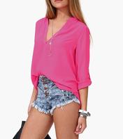 2014 Women's European V-neck Long Sleeve Half Sleeve Solid Shirt for Spring/Summer E2731