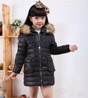 Children down jacket girls down jacket children long winter fur collar thickening