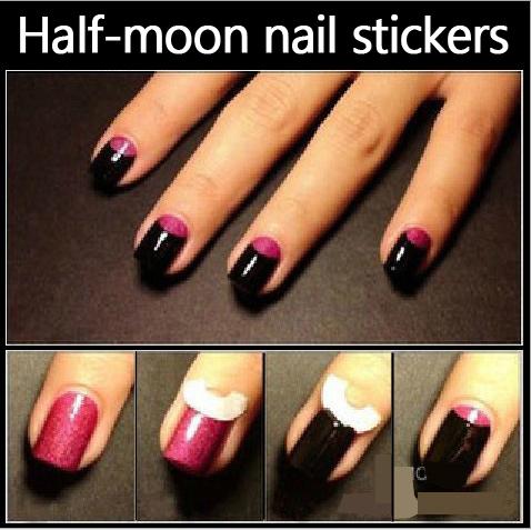 5 Packs/lot French Manicure Cartoon Nail Art Tips Creative Nail Tape Stickers Masking tape Do pattern Nail Tools Circle Stuck(China (Mainland))