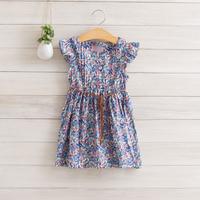 2014 New,girls floral dress,children summer casual dress,100%cotton,sashes,2 colors,2-8 yrs,5 pcs / lot,wholesale,1214