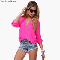 Fashion spring women's smss loose sexy V-neck sxf09 chromophous chiffon shirt