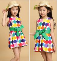 2014 Summer  3-12 Year Old Children Clothing Fashion Rainbow Dot Kids Dancing Dress Girl Princess Dress