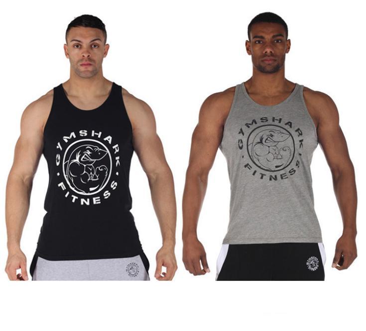 Novo! 2014 Gymshark musculação e tanque de fitness topo para os homens uma peças jérseis esportivos músculo mundo Impresso undershirt ginásio(China (Mainland))