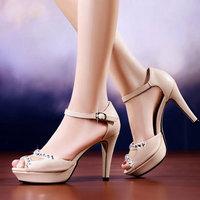 2014 New Summer Corium Rhinestone  Waterproof Taiwan Elegant ladies  women sandals Fashion shoes  DunHu6888