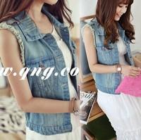 jeans waistcoat 2014 spring denim top denim vest denim outerwear denim waistcoat