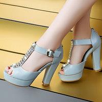 2014 New Summer Corium Rhinestone  Waterproof Taiwan Elegant ladies  women sandals Fashion shoes  DunHu925