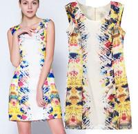 New European Fashion 2014 Summer Mini Dress Sleeveless Women Vintage Colorful Floral Print Dress Plus Size XL Free Shipping