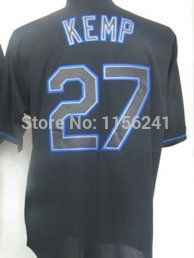 Los Angeles #27 Matt Kemp Black/Blue/Gray/White Baseball Embroidery Cheap Jerseys,Free Shipping(China (Mainland))