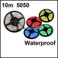 freeshipping 10m/lot 5050 rgb Waterproof led strip 300,DC 12V 14.4W RGB