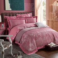 Luxury Embroidery Tribute silk Jacquard Bedding set 4pcs bed set bedspread bedclothes duvet/quilt/comforter cover home textiles