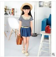 Children's clothing Korea edition 2014 girls summer cowboy dress   Stripe belt dress with short sleeves