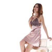 Woman Sexy Lace Nightwear Dress Imitated Silk Sleep Robe V-neck  Pajamas Fashion Sexy Lingerie Underwear